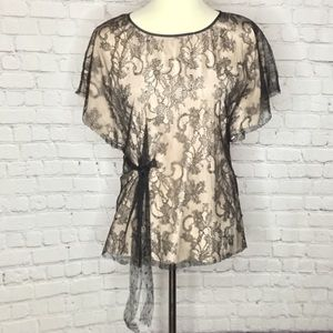 RED VALENTINO BLACK LACE OVERLAY BLOUSE